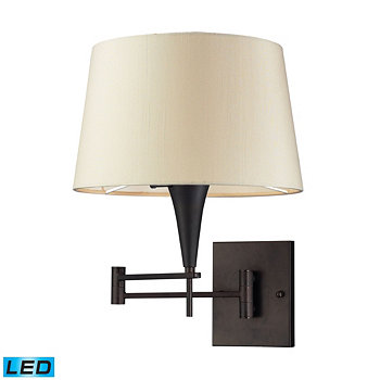 1-Light Swingarm Sconce in Aged Bronze with Beige Shade ELK Lighting