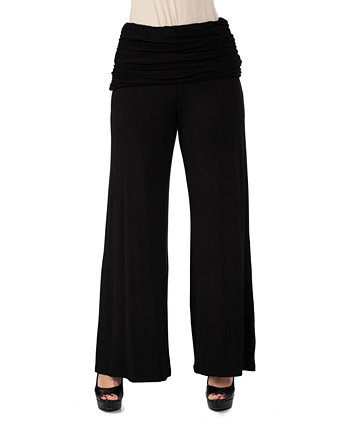 Women's Plus Size Fold Over Palazzo Pants 24seven Comfort Apparel