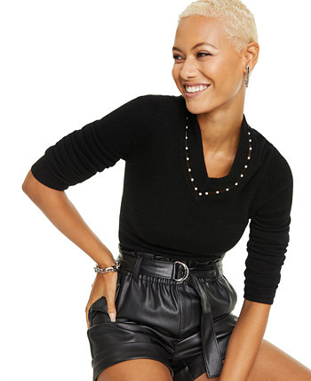 Imitation Pearl Inset V-Neck Cashmere Sweater, Created For Macy's Charter Club