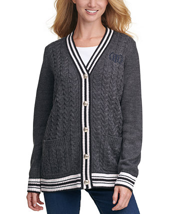 Contrast-Trim Button-Front Cardigan Tommy Hilfiger