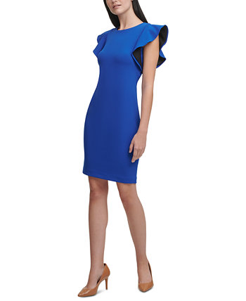 Ruffle-Sleeve Sheath Dress Calvin Klein