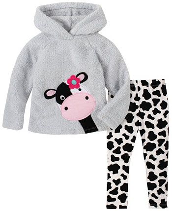 Toddler Girl 2-Piece Hooded Fleece Top with Cow Print Legging Set Kids Headquarters