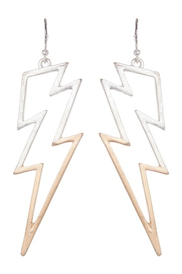 Two Tone Bolt Statement Earrings AREA STARS