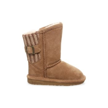 Girl's Boshie Suede & Knit Boots Bearpaw