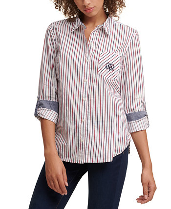 Cotton Roll Tab Sleeve Blouse Tommy Hilfiger