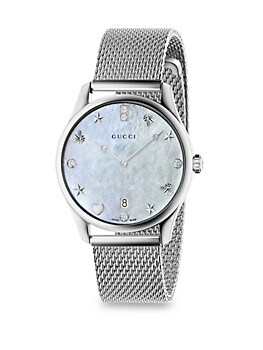 G-Timeless Diamond Mother-Of-Pearl Mesh Bracelet Watch GUCCI
