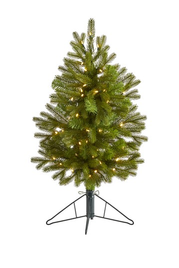 3ft. Cambridge Spruce Flat Back Artificial Christmas Tree with 50 Warm White (Multifunction) LED Lights and 113 Bendable Branches NEARLY NATURAL