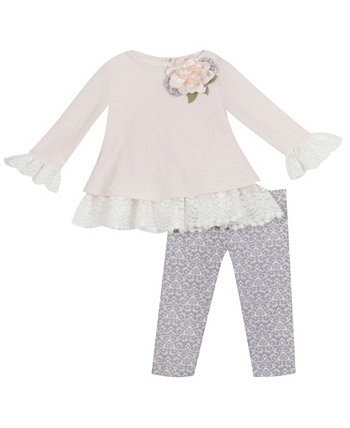 Toddler Girl Sweater Set With Lace Detail And Flower Applique Legging Set Rare Editions