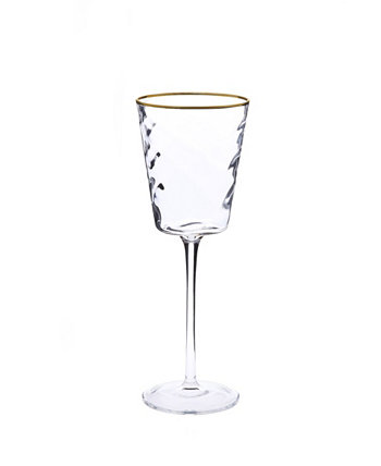 Set of 6 Pebble Glass Water Glasses with Gold Tone Rim Classic Touch