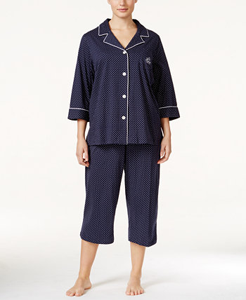 Plus Size Button-Front Top and Pants Pajama Set Ralph Lauren
