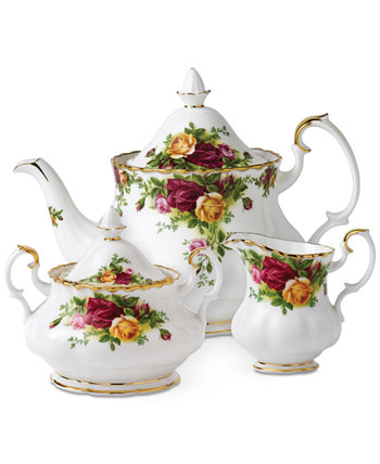 """Old Country Roses"" 3-Piece Tea Set Royal Albert"