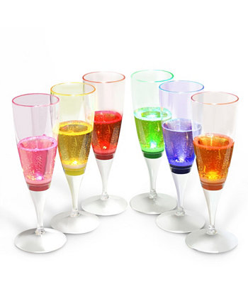 6 Set Liquid Activated Light Up Led Champagne Flute Glass Innoka