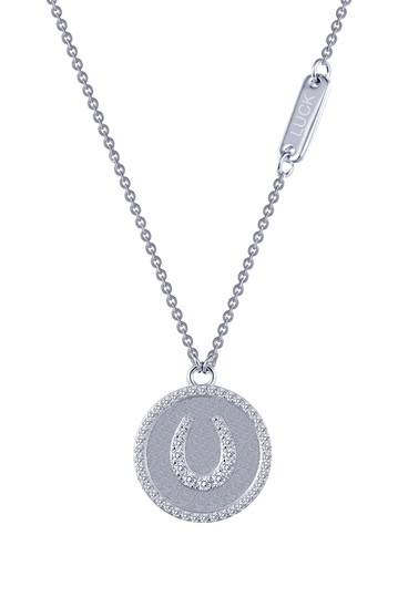 Platinum Plated Sterling Silver Micro Pave Simulated Diamond Sentimentals Horseshoe Pendant Necklace LaFonn