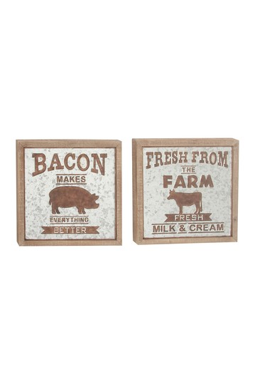 "Farmhouse 18"" Distressed Iron And Fir Wood Wall Signs - Set of 2 Willow Row"