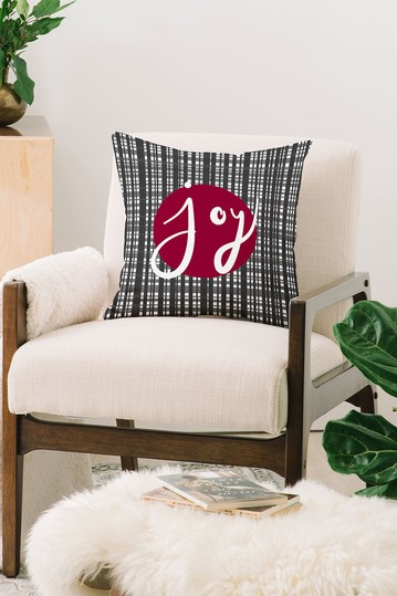 Lisa Argyropoulos Holiday Plaid Modern Joy Square Throw Pillow Deny Designs