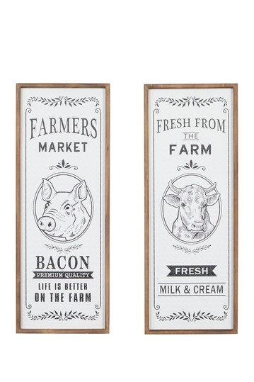 Tall Rectangular Farmhouse Natural Wood Framed Signs - Set of 2 Willow Row