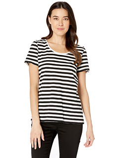 Short Sleeve Amour City Stripe Scoop Neck Tee Vince Camuto