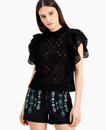 INC Ruffled Crochet Top, Created for Macy's INC International Concepts