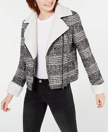 Juniors' Faux-Shearling-Trim Moto Jacket Maralyn & Me