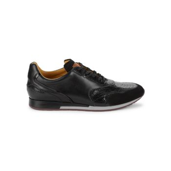 Chiron Leather & Suede Soccer Sneakers Mezlan