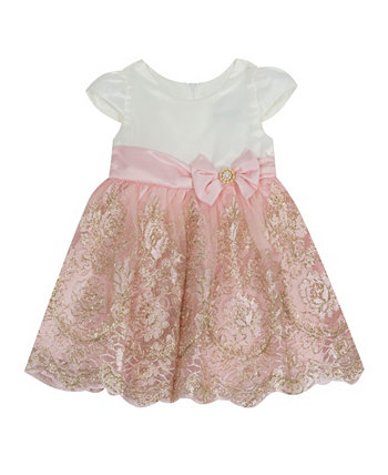 Baby Girls Satin Cap Sleeve Bodice To Cord Embroidered Skirt Rare Editions