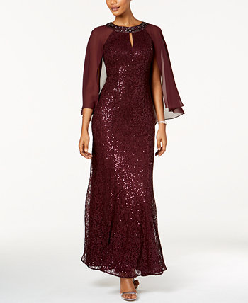 Sequined Cape Gown SL Fashions