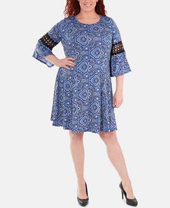 Plus Size Crochet-Trimmed Bell-Sleeve Dress NY Collection