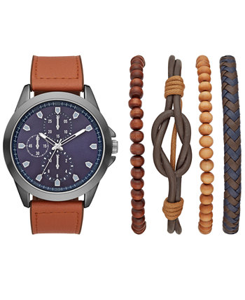 Men's Brown Faux Leather Strap Watch 48mm Gift Set Folio