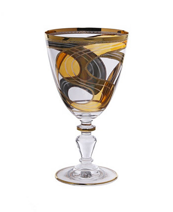 Set of 6 Water Glasses with 24K Gold Swivel Design Classic Touch