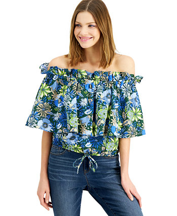 INC Petite Cotton Printed Off-the-Shoulder Top, Created for Macy's INC International Concepts