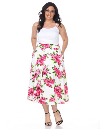 Plus Flower Print Tasmin Flare Midi Skirts White Mark