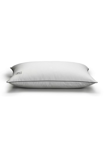 King White Down Stomach Sleeper Soft Pillow Certified RDS  - Navy/White Pillow Guy