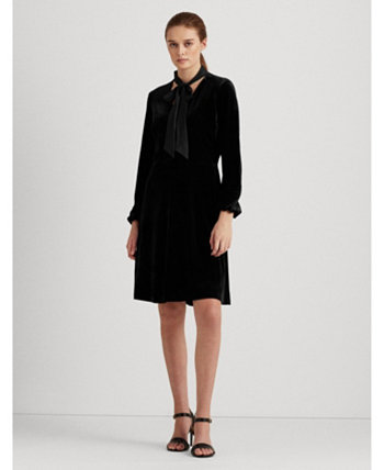 Velvet Tie-Neck Dress Ralph Lauren