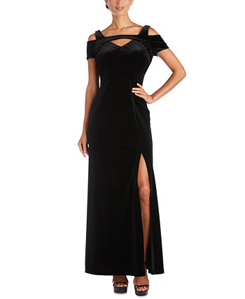 Petite Stretch-Velvet Cold-Shoulder Gown Nightway