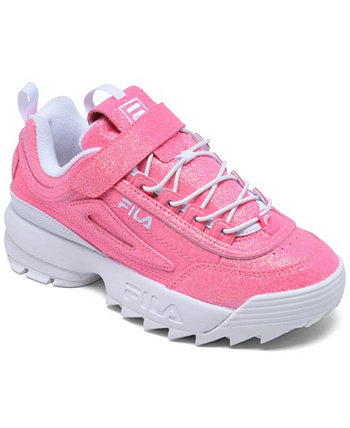 Little Girls Disruptor II Glimmer Stay-Put Closure Casual Sneakers from Finish Line Fila
