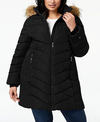 Plus Size Faux-Fur Trim Hooded Water-Resistant Puffer Coat, Created for Macy's Tommy Hilfiger