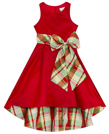 Big Girl Satin Hi-Low Dress With Plaid Bow And Lining Rare Editions