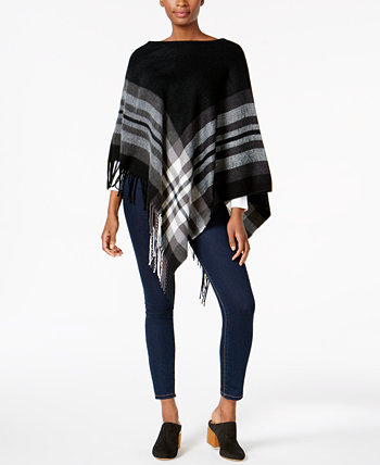 Plaid Brushed Poncho, Created for Macy's V. Fraas