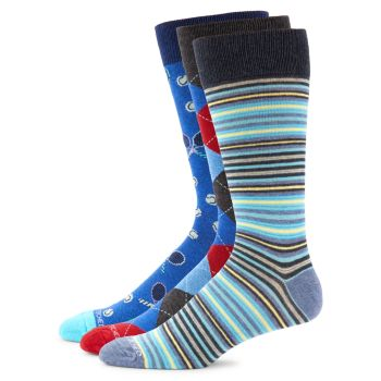 3-Pack Striped Crew Socks Unsimply Stitched