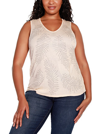 Black Label Plus Size V-Neck Sweater Tank with All Over Rhinestone Detailing Belldini