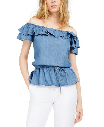Flounce Off-The-Shoulder Peplum Top, Regular & Petite Michael Kors
