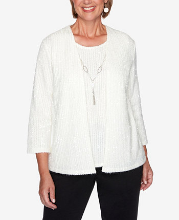 Women's Plus Size Glacier Lake Sequin Two-For-One Sweater Alfred Dunner