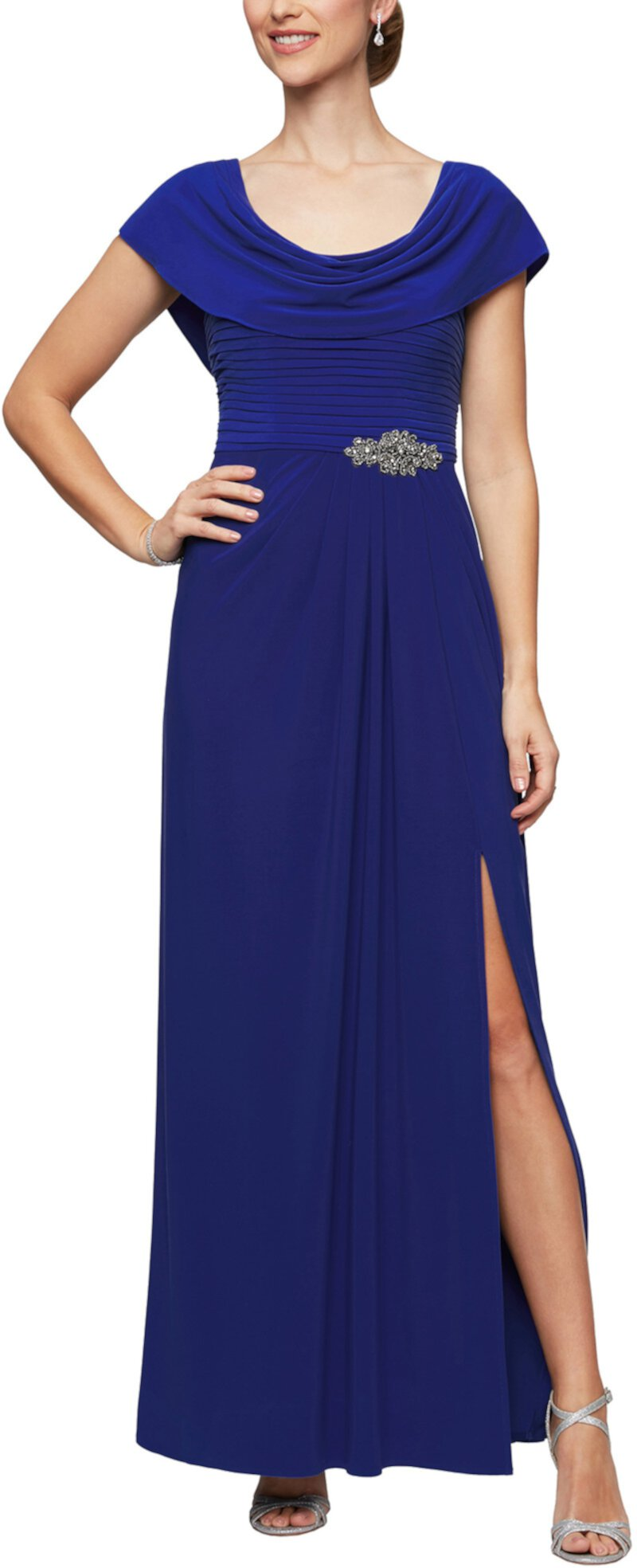 Long Cowl Neck A-Line Dress with Beaded Detail at Waist Alex Evenings