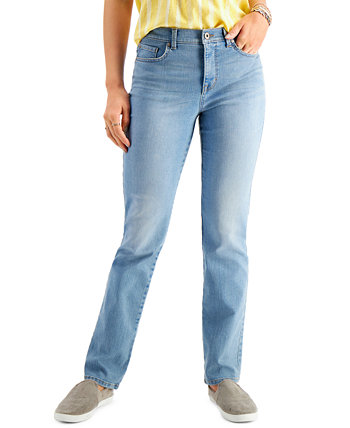 Petite Tummy-Control Straight-Leg Jeans, Created for Macy's Style & Co