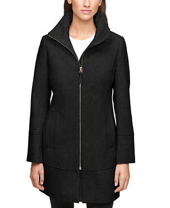 Petite Faux-Leather Trim Coat, Created for Macy's Calvin Klein