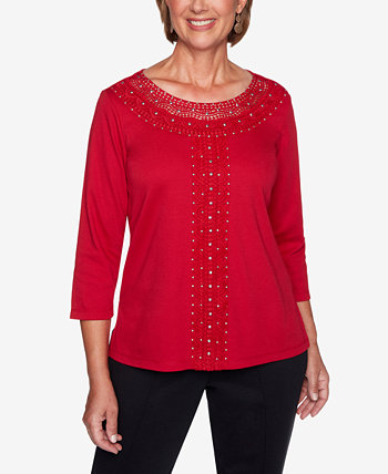 Petite Knightsbridge Station Crochet-Trim Knit Top Alfred Dunner