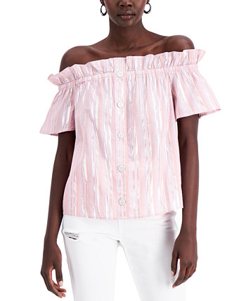 INC Metallic-Stripe Off-The-Shoulder Top, Created for Macy's INC International Concepts