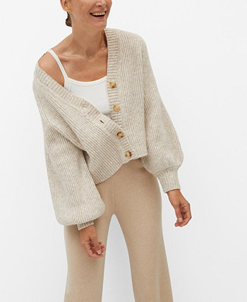 Women's Buttoned Ribbed Cardigan MANGO