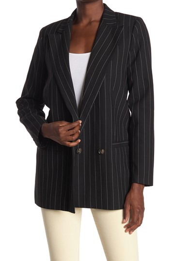 Pin Stripe Double Breasted Suiting Blazer GANNI