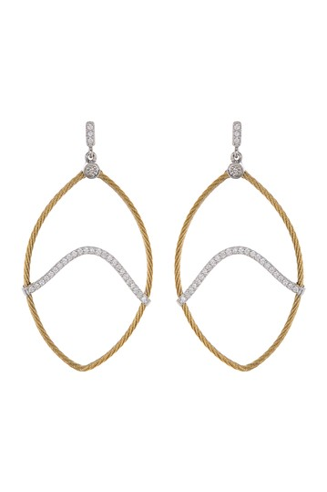 18K Yellow Gold Stainless Steel Diamond Drop Earrings ALOR